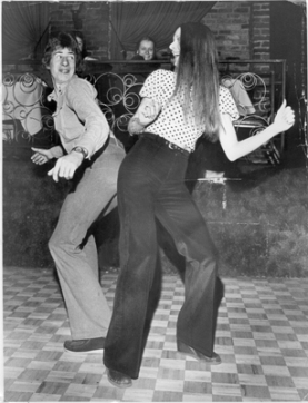 April 9 1975. Doug Angell and Lina Barattin try new dance called the Bump. Deni Eagland / Vancouver Sun [PNG Merlin Archive]