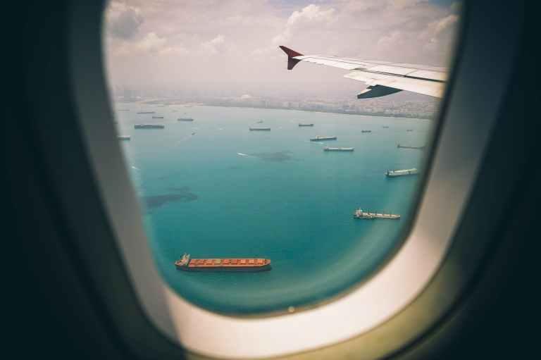 aircraft airplane blue cargo